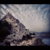 Ruins of old church and rest house on the island of Ciovo, Croatia.