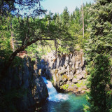 I took this waterfall picture early in the morning camping in McCloud California