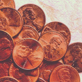 Heads up! Lucky pennies closeup shot. All coins are face up for luck :)