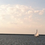 Sailboat on Lake Erie in Cleveland Ohio.