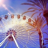 This picture of a ferris wheel was taken at Irvine Spectrum in Orange County, California. It has been digitally altered.
