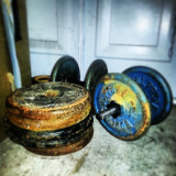 Hardcore weights setup in the garage. No excuse not to train