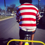 During SXSW in Austin I was riding a pedicab (a bike taxi kind of thing). I couldnt help but notice that my driver looked a lot like one of my favorite child hood book characters, Waldo. Looks like I finally found him.
