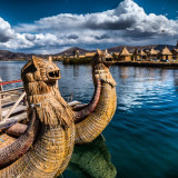 Uros, one of the floating islands in Titicaca, Peru