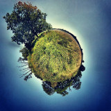 Took and rendered this photo using the native Android 4.3 photo app. The initial image is a photosphere using the same technology as Google Maps' Streetview. Then the sphere is inverted and rendered into a