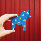 A Dala horse I painted in Sweden.