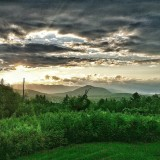 The sun setting over the Adirondack Mountains in lovely Jay, New York