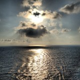 A view from the back of a cruise ship in the Caribbean