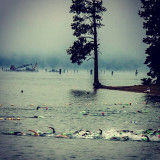 The start of the swim for Ironman Coeur d'Alene 2013