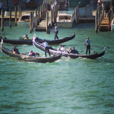 View from the ship, watching the gondoliers in venice.