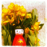 A japanese  surrounded in flowers by my niece in grandmother's garden