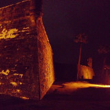 The corner of the old fort in St. Augustine. One of my favorite places in the world is sitting on the corner of the fort looking at the river at night. Beautiful lighting and beautiful ancient architecture. Saint Augustine, Florida.