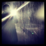 This was a picture taken while walking through the Rain Room exhibition