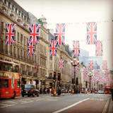 Regent Street is one of the major shopping streets in London's West End flags in anticipation of the Royal Wedding 29/04/11