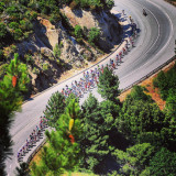 The peloton near Vivario, Corsica on stage 2 of the 100th edition of the Tour de France.