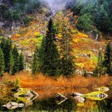Heather lake is located just outside of Seattle Washington in the Mt. Baker National Forest.