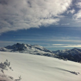 The top of Flute at Whistler on a beautiful bluebird ski day