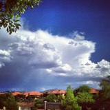 Southeast view of cloud formation on a summer day in Henderson just outside of Las Vegas, Nevada.