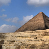 This is the first in a series of three pictures which together form a triptych view of the Sphinx and pyramids of Giza.