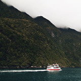 Fog is a constant companion for those cruising along Milford Sound in New Zealand during fall.