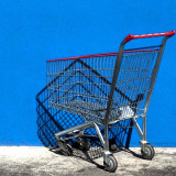 beautiful blue, silver and red details on shopping cart modern, minimalism