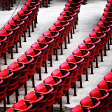 Red chairs at the concert hall in Millennium Park in Chicago.
