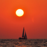 Sailing at sunset time