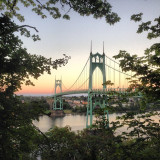 St. John's bridge in Portland, Oregon at sunset.