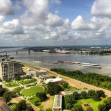 Downtown Baton Rouge and the Mississippi River.