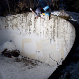 Johnny Paxson hitting a curved wall ride in Ogden, Utah.  Photo E-Stone