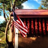 Flag and ristra, Americana in NM.