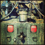 Captured this on the road. It is a detail of the rear end of a Tar Truck. I thought it made a interesting face.