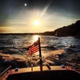 Boat with American flag