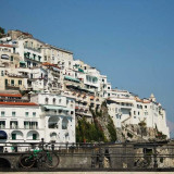 Houses stacked on top of each other at the town of Amalfi, on the Amalfi Coast in Italy, taken with a Canon 1100D.