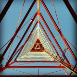 The radio antenna on top of the Franklin Mountains. This is what it looks like when you look up underneath it!