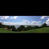 Panorama view of the Potomac river from the front lawn of George Washington's home in Mount Vernon.