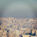 Stunning city view from the Amman Citadel, in the capital of Jordan. Pollution or mist, the perspective from the historic site is quite impressive, where you can observe the urban growth and the density of population.