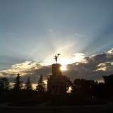 No good sunset today, so here's a pic of yesterdays.. #jmalanchuk #awesome #sunset #amazing #shot #loveit #look #beautiful #sky #trees #statue #sun #sunny #sunrays #clouds #instasunset #sundown #igers #instapic #picoftheday #photooftheday #onthego #driveby #checkitout #noedit #noeffects #original