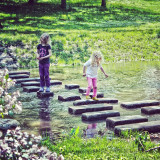 kids playing on the water