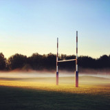 #football #field #sunrise #fog #morning