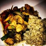 Ginger chicken and veggies with brown rice