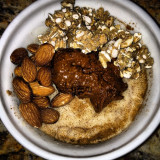 Vanilla cinnamon Pro froyo (look back in my feed) topped with chocolate Nutzo nut butter