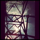 This is the Commodore Barry #Bridge, just like 2 other shots in my feed from awhile ago. iPhone facing up through my sunroof while crossing to Jersey. #sun #lines #diagonal #driving