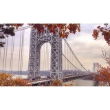 A fall day in NJ looking out over the George Washington bridge.