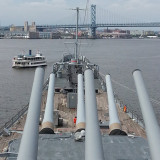 Battleship New Jersey with a view of the Ben Franklin bridge in the background. #battleshipnewjersey #battleship #nj #newjersey #camden #delawareriver #guns #river #summerfun #summer #benfranklinfriday #benfranklinbridge #bridges #phila #bestoftheday #bestshot #photooftheday #photography #ship #ships #navy #historical #historicalsites