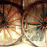 vintage carriage or cart wheels