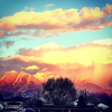 Utah wasatch range in the winter with sunset in Salt Lake City