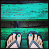 Thanks for the pedi today, Mom! #motherdaughterbonding #flipflops #bleachers #teal