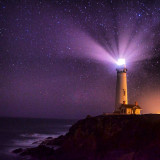 This is the lighthouse at Pigeon Point, Pescadero, CA. We were lucky with no fog, no moon and a very clear, beautiful night. The kind of night that you just want to stay up for.