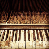 Weathered keys of a piano